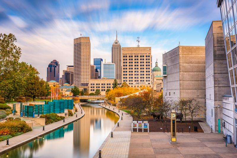 Indianapolis, Indiana, usa linia horyzontu zdjęcie stock