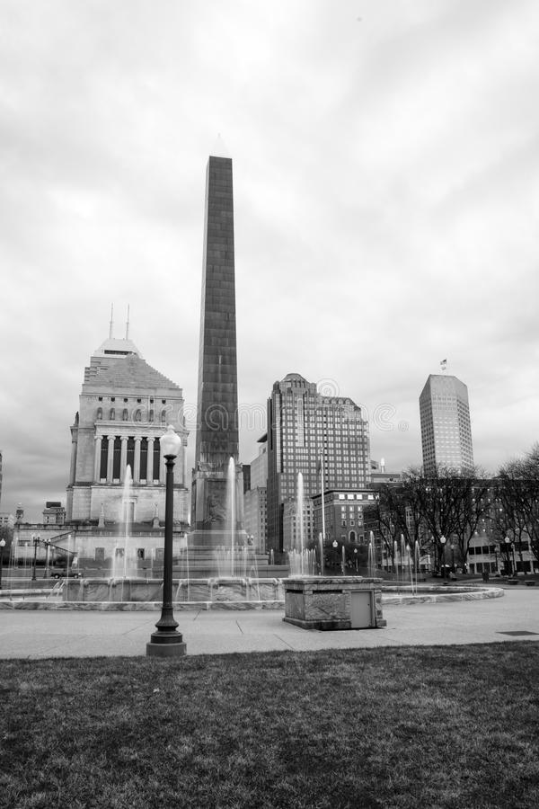 Indianapolis Indianna Downtown City Skyline War Memorial Park. Vertical monochrome composition of a fine midwestern city stock images