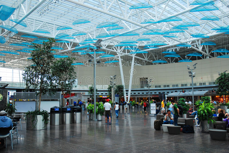 Indianapolis International Airport Atrium. The main atrium of the Indianapolis Airport in ringed with a food court stock photo