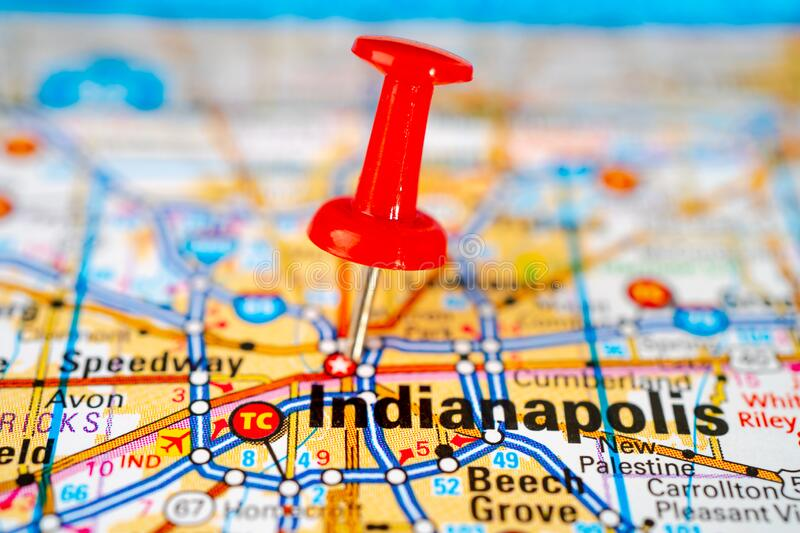 Indianapolis, Marion road map with red pushpin. Bangkok, Thailand, June 1, 2020 Indianapolis, Marion road map with red pushpin, city in the United States of stock image