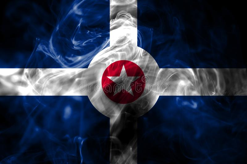 Indianapolis miasta dymu flaga, Indiana stan, Stany Zjednoczone Am zdjęcie stock