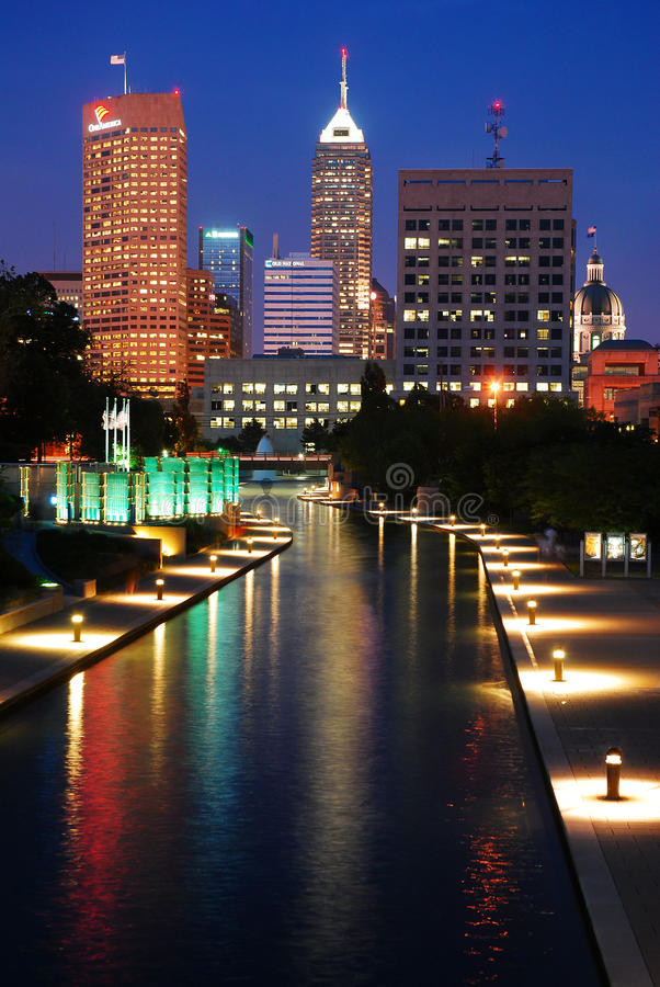 Indianapolis at Night. The lights of the Indianapolis skyline reflect in the White River royalty free stock photo