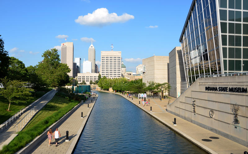 Indianapolis skyline from Canal Walk stock image