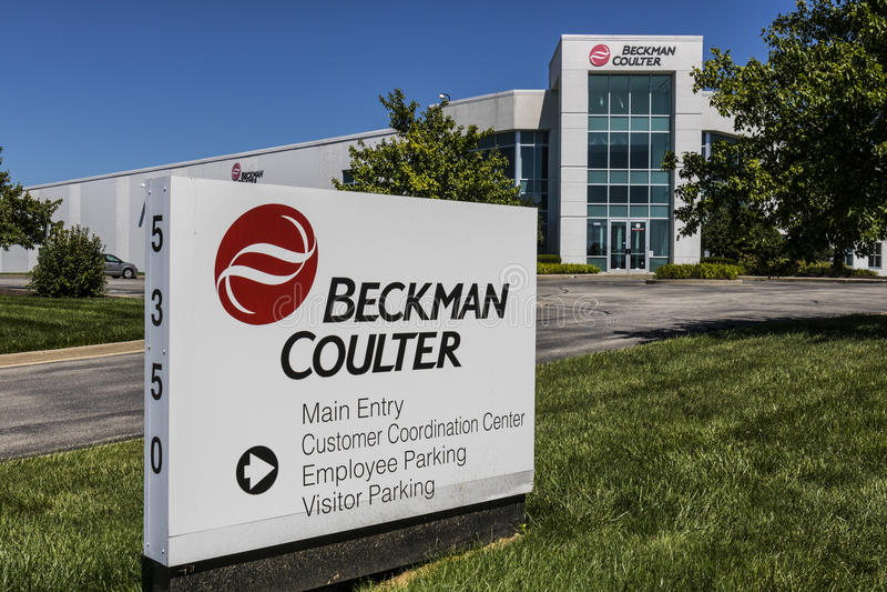 Indianapolis - vers en juillet 2017 : Division des sciences de la vie de coutre de Beckman Le coutre de Beckman est impliqué dans photographie stock libre de droits