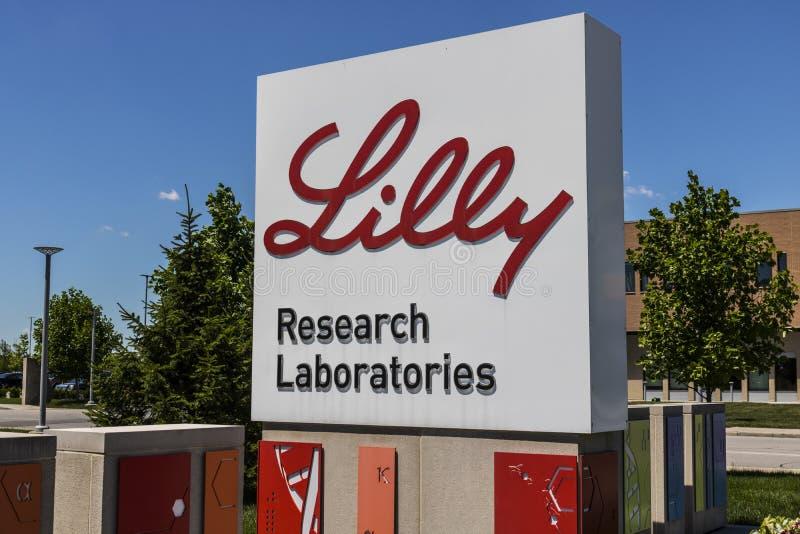 Indianapolis - vers en juin 2017 : Sièges sociaux du monde d'Eli Lilly et de société Lilly prépare des médecines et des pharmaceu images libres de droits