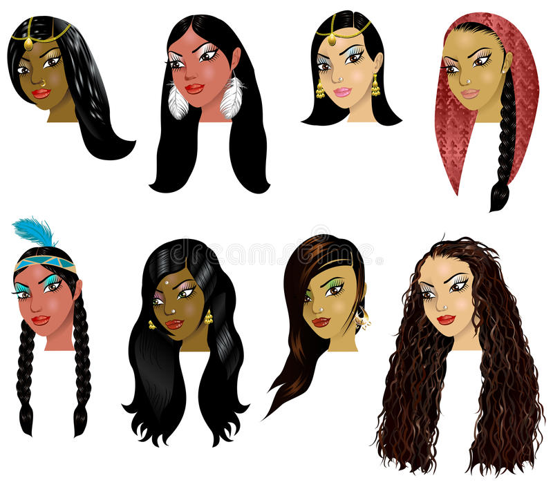 IndianArabWomenFaces. Vector Illustration of Indian, Arab and Native American Women Faces. Great for avatars, makeup, skin tones or hair styles of various women