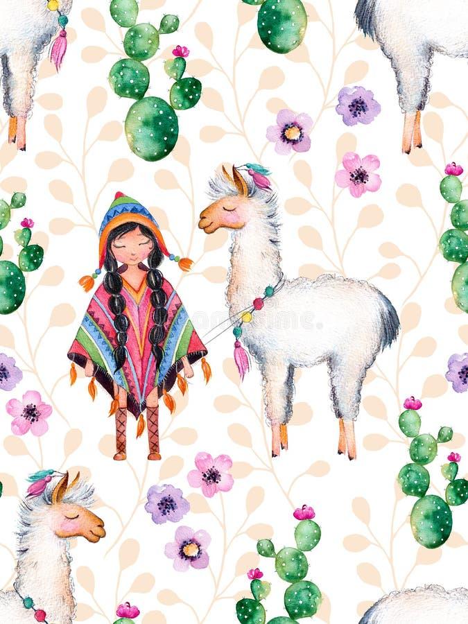 Indianflicka i traditionell poncho och lama royaltyfri illustrationer