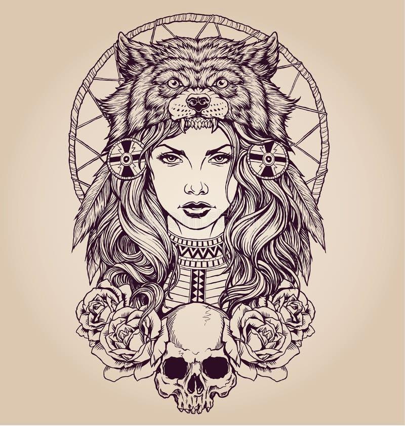 Indianflicka med varghuvudbonaden stock illustrationer