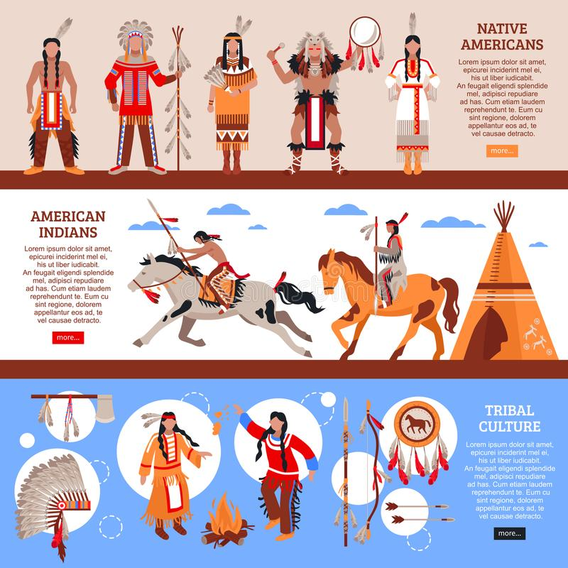 Indianhorisontalbaner vektor illustrationer