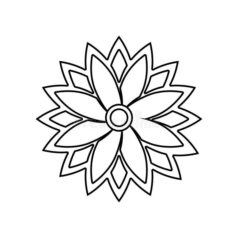 Indianin deseniowa ikona E Kontur, cienka kreskowa ikona dla strona internetowa projekta i ilustracja wektor