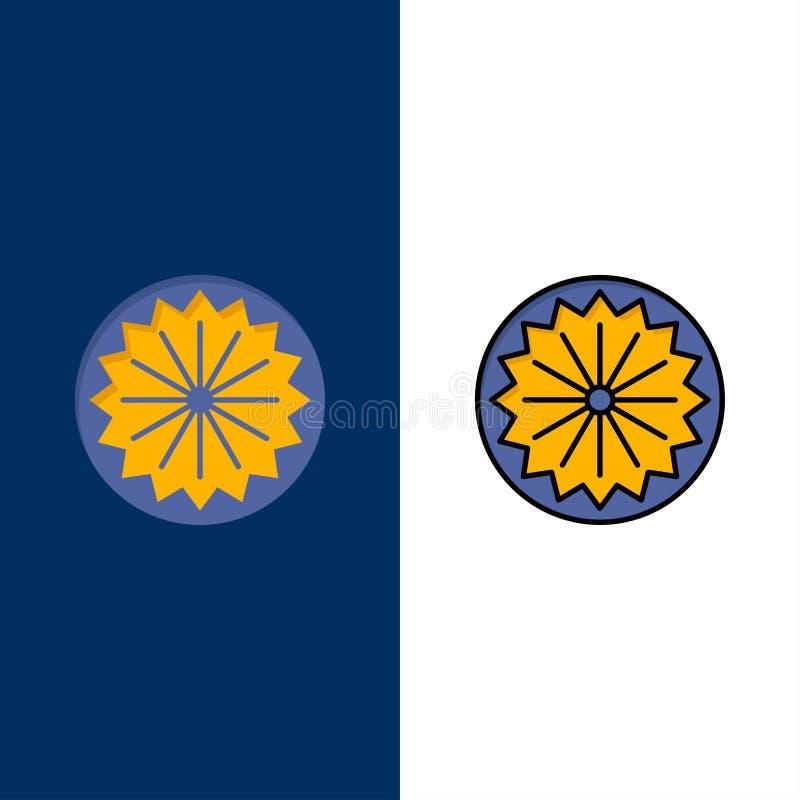 Indianin, flaga, znak, dzień ikony Mieszkanie i linia Wypełniający ikony Ustalony Wektorowy Błękitny tło royalty ilustracja
