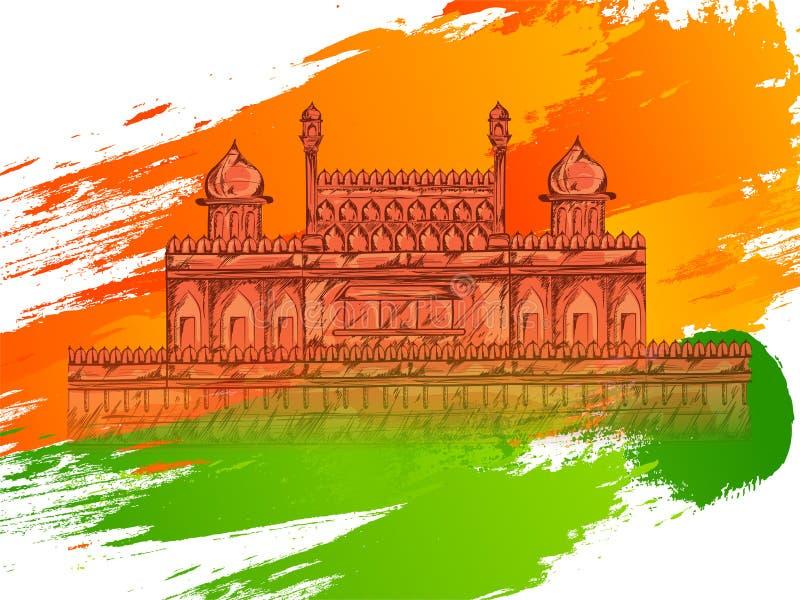 Indianin flagi kolorów abstrakta muśnięcia uderzenia z ilustracją Indiański zabytek ilustracja wektor