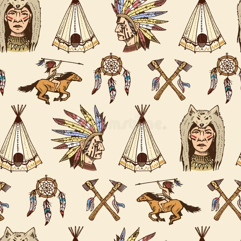 Indianin lub rodowity amerykanin bezszwowy wzoru cioski, namiot, Dreamcatcher i cherokee, tomahawk set grawerujący rocznik ilustracja wektor