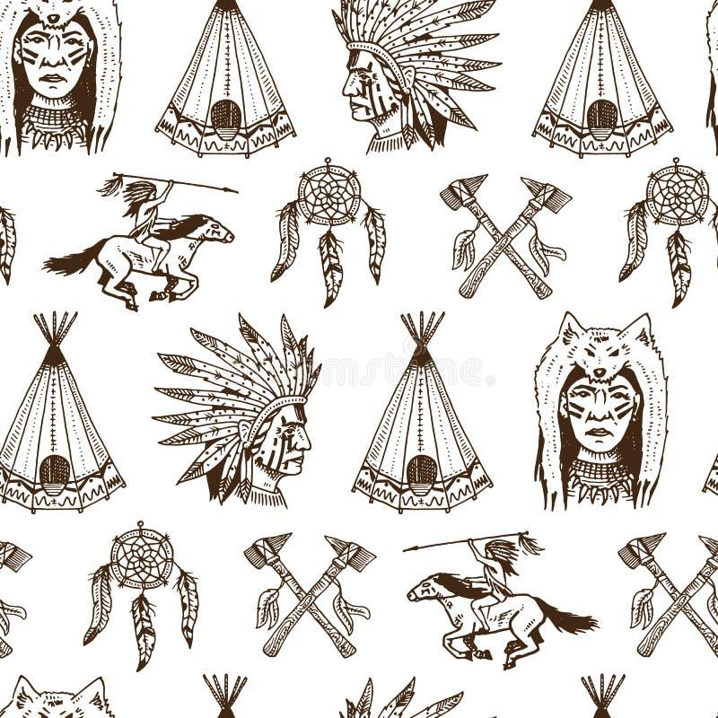 Indianin lub rodowity amerykanin bezszwowy wzoru cioski, namiot, Dreamcatcher i cherokee, tomahawk set grawerujący rocznik ilustracji
