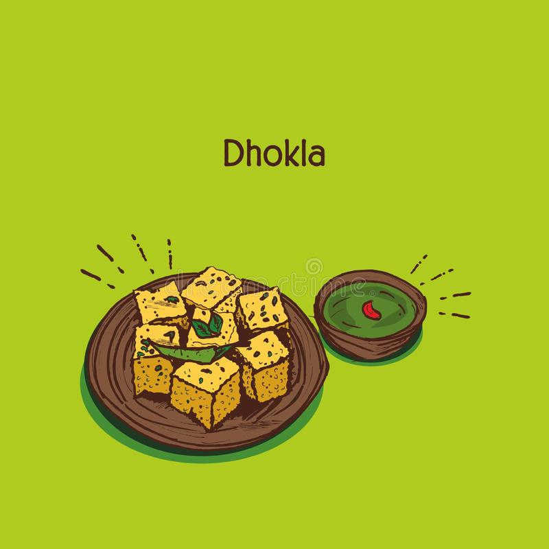 Indianin przekąsza dhokla Gujarati karmową wektorową ilustrację ilustracji