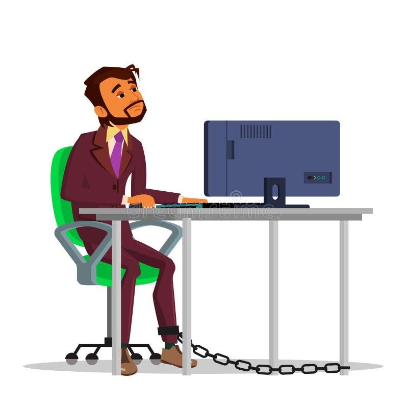 Indianin Przykuwający biznesmen Pracuje Na laptopie Przy Stołową Wektorową Płaską kreskówki ilustracją ilustracji