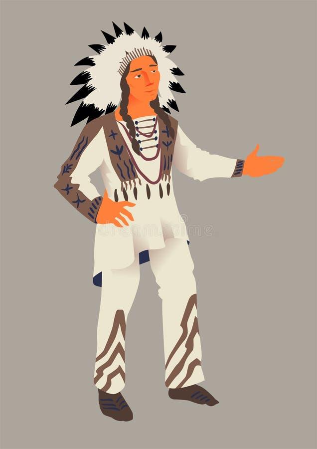 Indianin, wektorowa ilustracja dziękczynienie dniem Aborygen Ameryka w tradycyjnym kostiumu ilustracja wektor