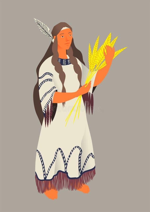 Indianin, wektorowa ilustracja dziękczynienie dniem Kobieta aborygen Ameryka w tradycyjnym kostiumu z wiązką zboża royalty ilustracja