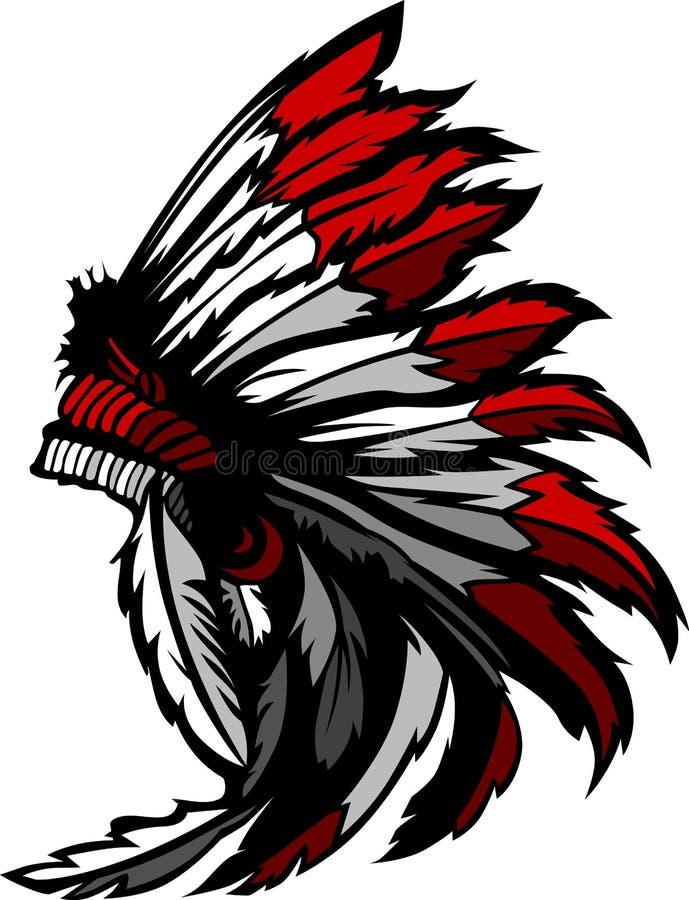 Indianina amerykański Rodzimy Piórko Headress royalty ilustracja