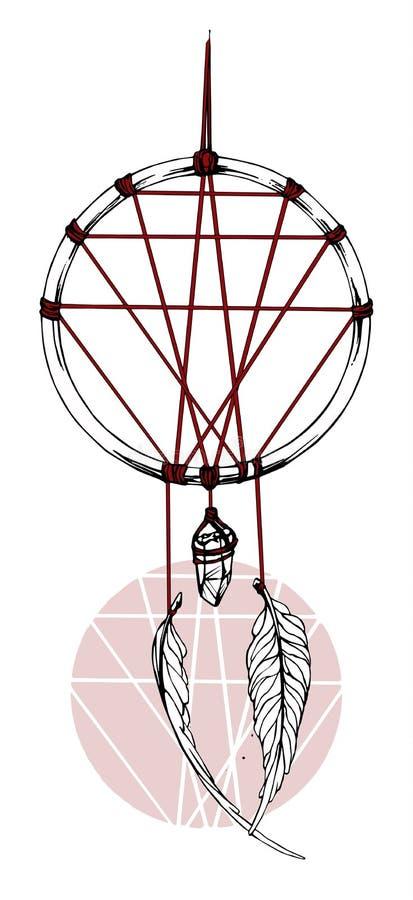 Indianina wymarzony łapacz z czerwonym faborkiem ilustracja wektor
