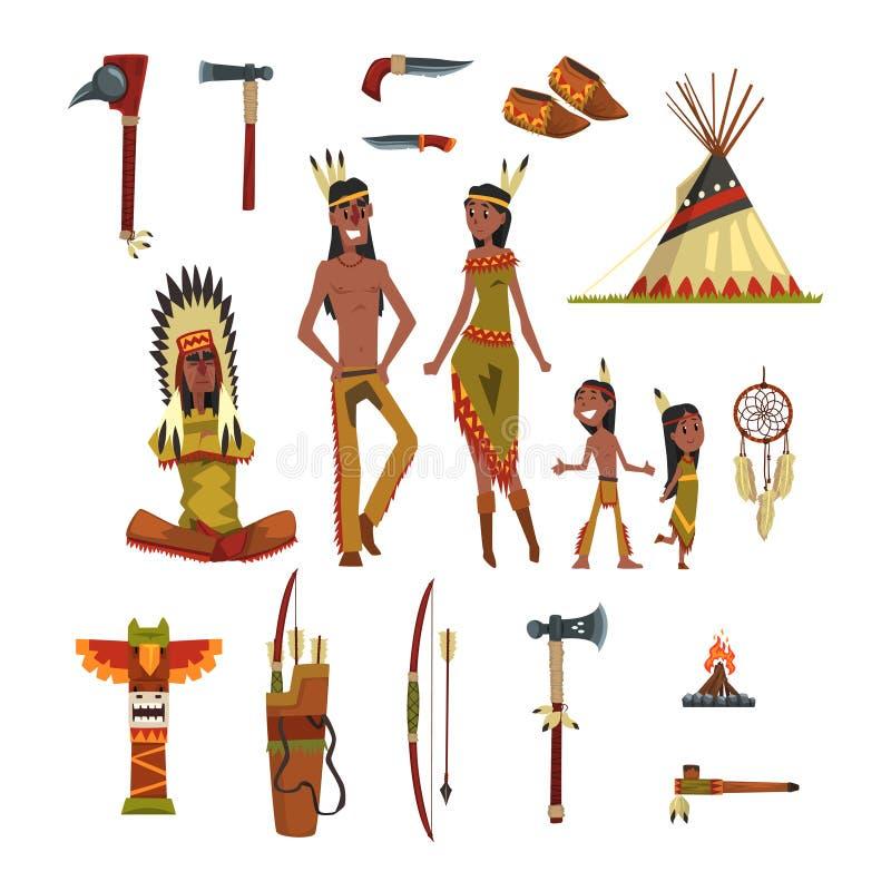 Indianindier och traditionell kläder ställde in, vapen och kulturella symbolvektorillustrationer royaltyfri illustrationer