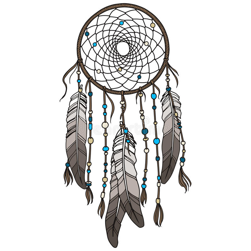 Indianindierdreamcatcher stock illustrationer