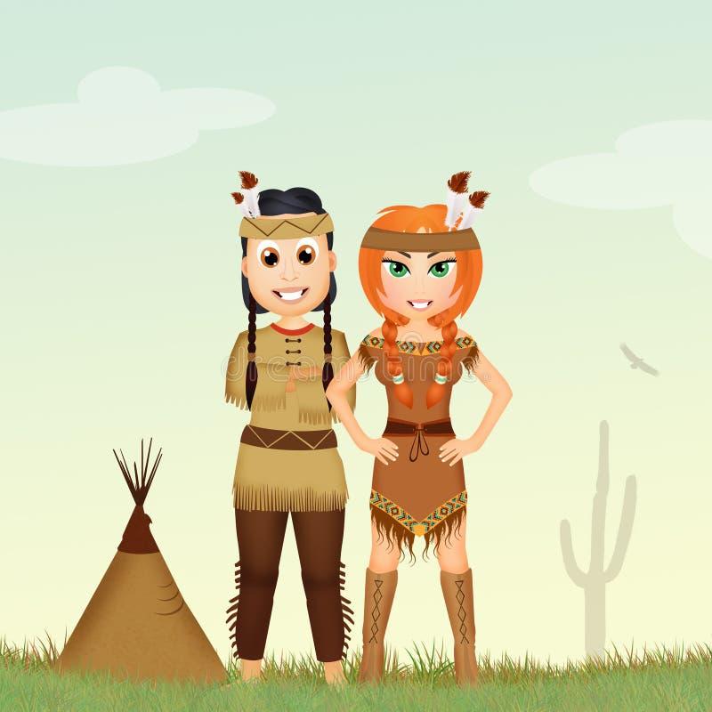 Indianindierpar stock illustrationer