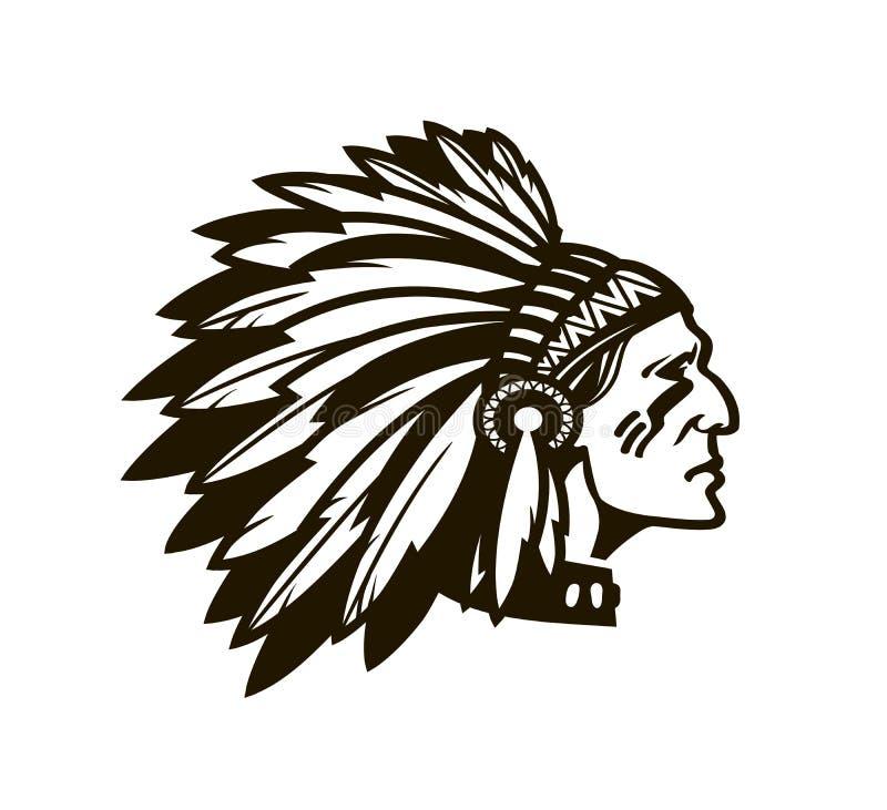 Indianischer Leiter Logo oder Ikone Auch im corel abgehobenen Betrag lizenzfreie abbildung