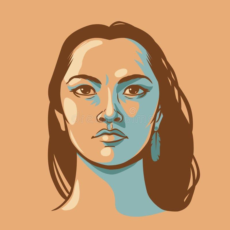 Indiankvinna med långt hår stock illustrationer
