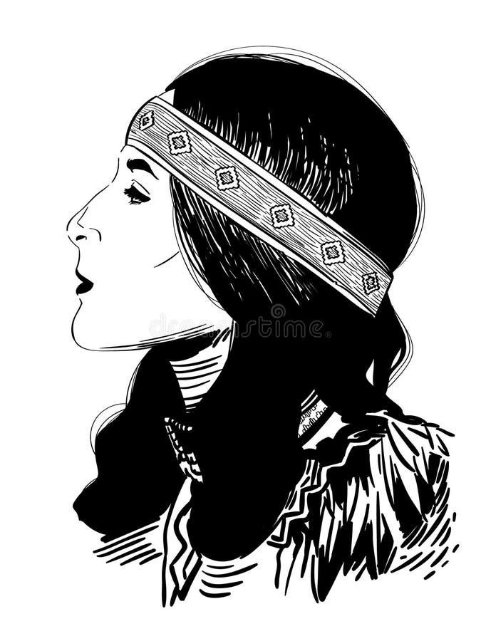 Indiankvinnavektor, Eps, logo, symbol, konturillustration vid crafteroks f?r olikt bruk Bes?ka min website p? https royaltyfri illustrationer