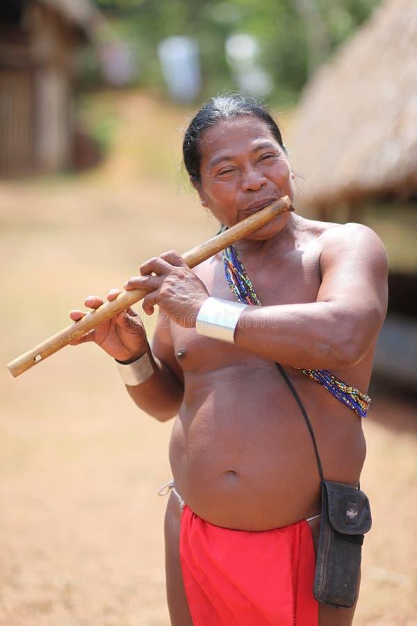 Indianman som spelar en flöjt royaltyfri foto