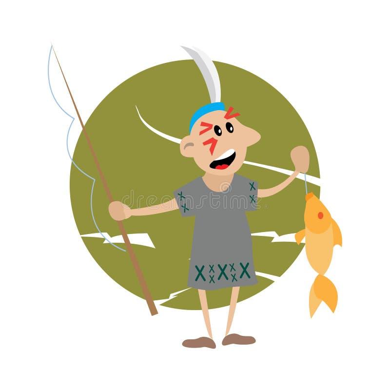 Indiano americano che tiene una canna da pesca e un pesce illustrazione vettoriale