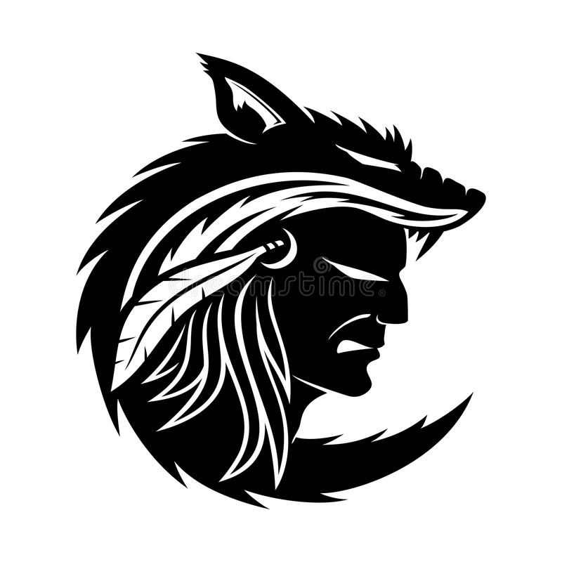 Indiano americano nella pelle del lupo illustrazione di stock