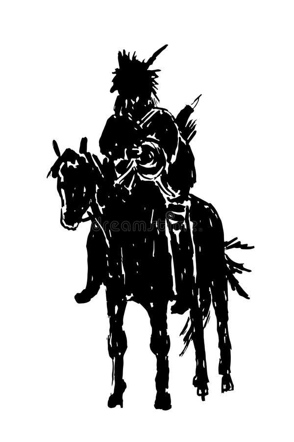 Indiano americano que monta uma ilustração do esboço do cavalo ilustração do vetor