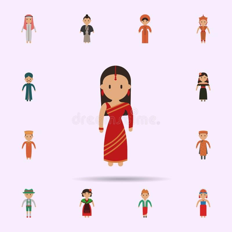 Indiano, ?cone dos desenhos animados da mulher Grupo universal de pessoas em todo o mundo para o projeto do Web site e o desenvol ilustração do vetor