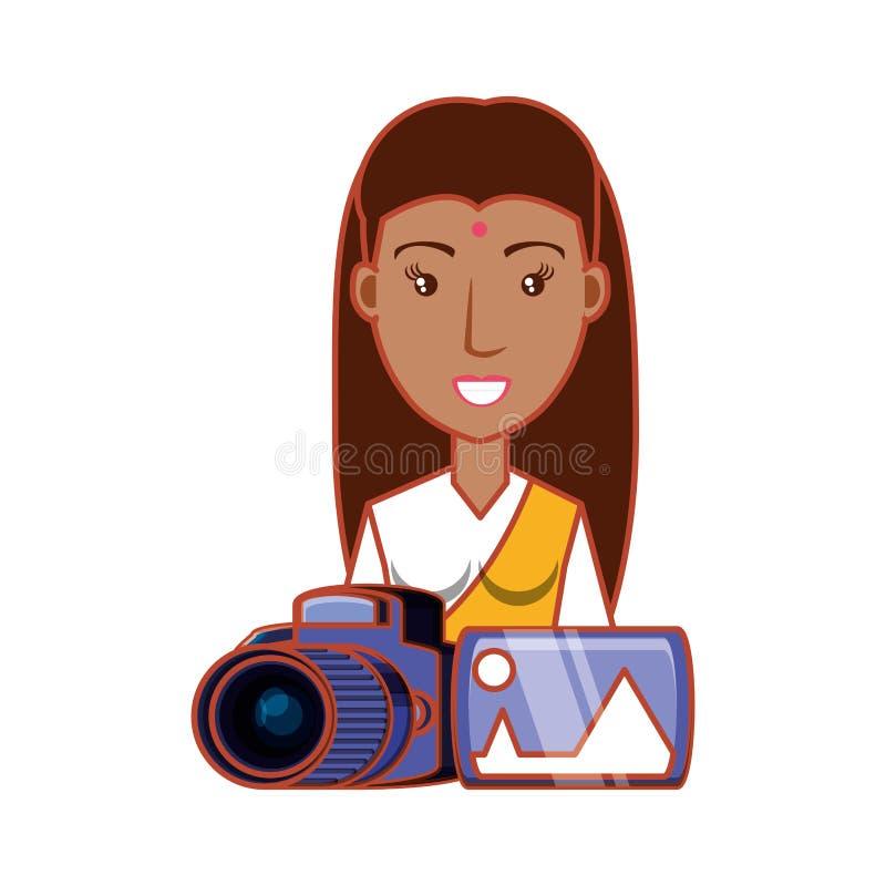 Indiano da mulher com câmera fotográfica e imagem ilustração do vetor