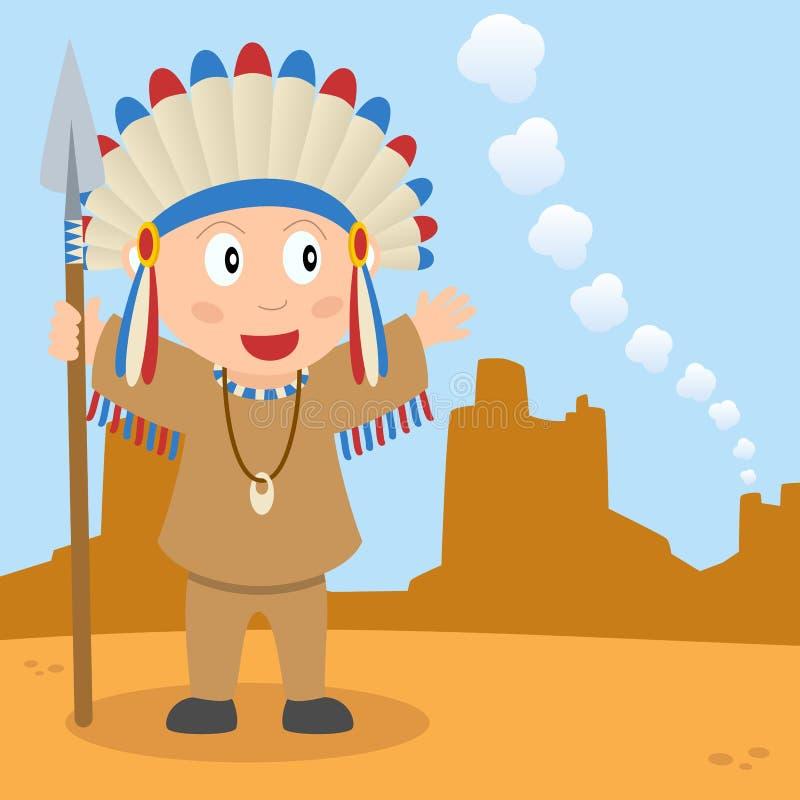Indiano della prateria e segnale di fumo illustrazione vettoriale