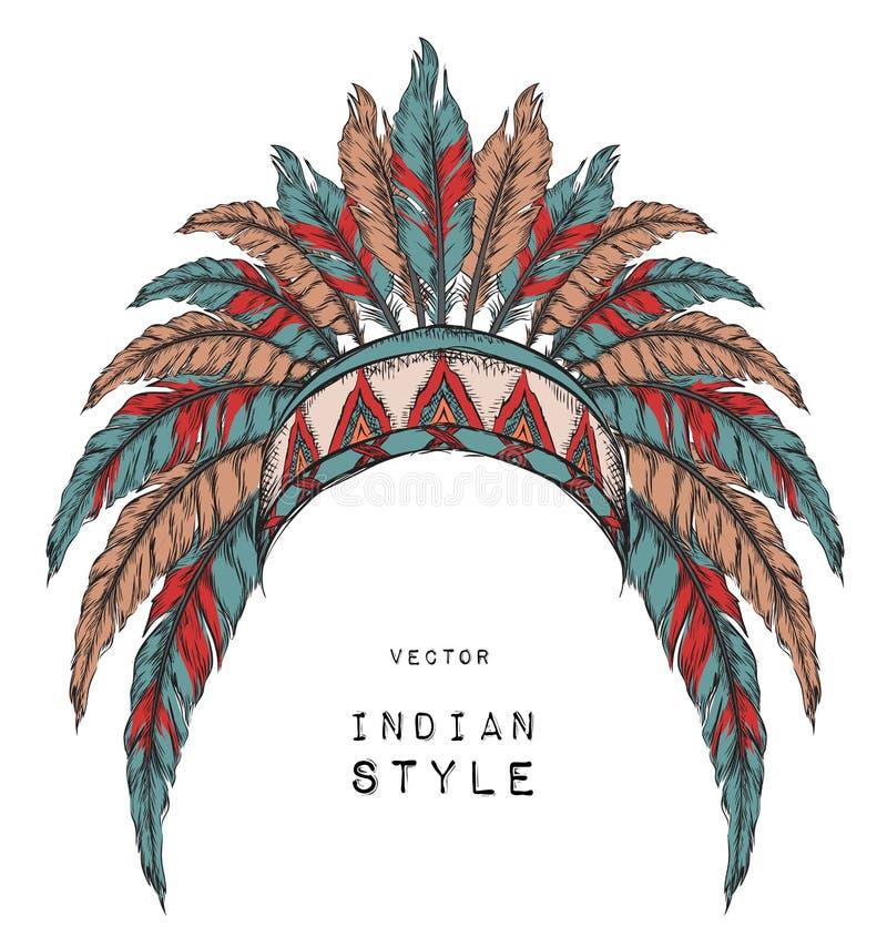 Indiano do nativo americano colorido principal Barata vermelha e preta Mantilha indiana da pena da águia ilustração do vetor