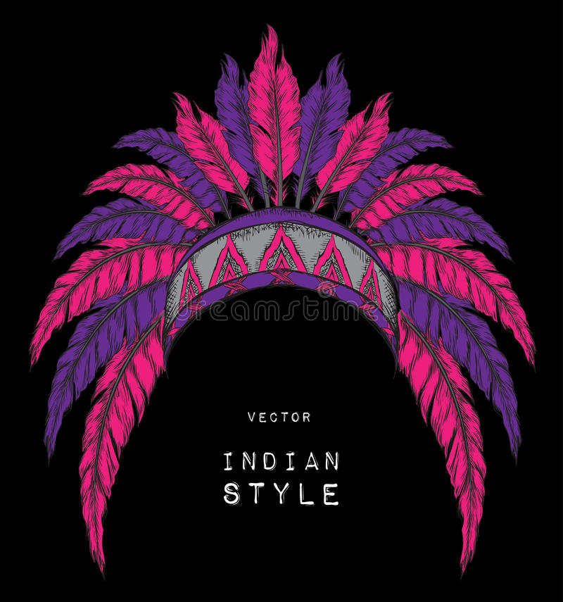 Indiano do nativo americano colorido principal Barata vermelha e preta Mantilha indiana da pena da águia ilustração stock