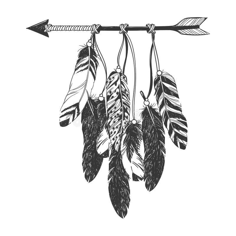Indiano Dreamcatcher do nativo americano com penas ilustração stock