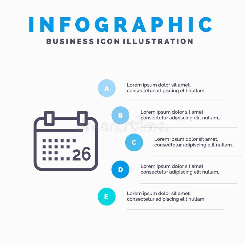 Indiano, giorno, giorno indiano della Repubblica, icona di 26 Jan Line con il fondo di infographics di presentazione di 5 punti illustrazione vettoriale