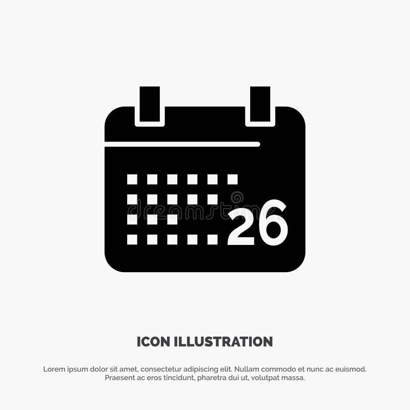 Indiano, giorno, giorno indiano della Repubblica, il 26 gennaio vettore solido dell'icona di glifo illustrazione di stock