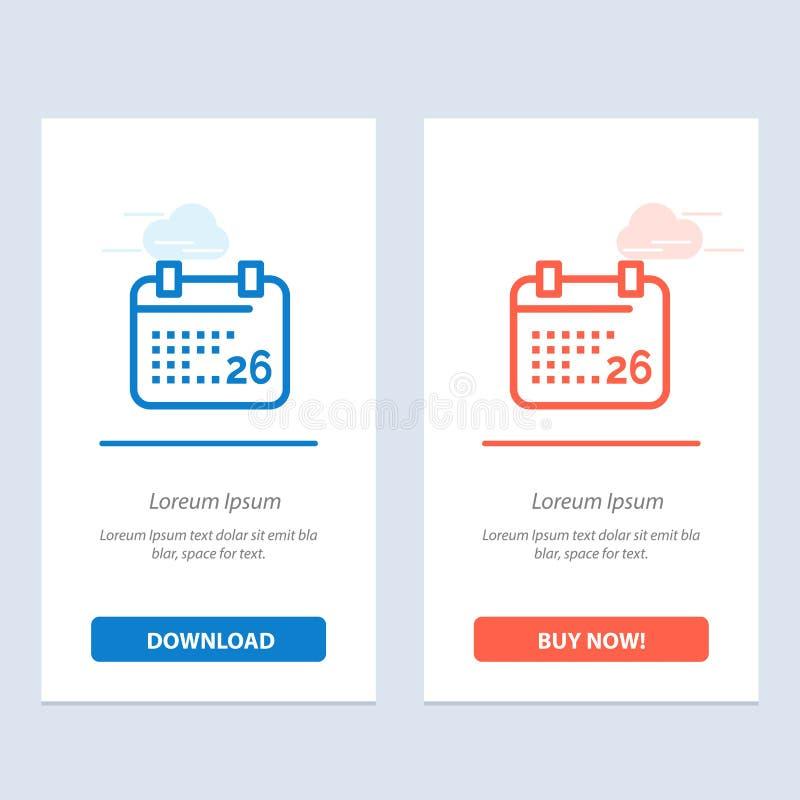 Indiano, giorno, giorno indiano della Repubblica, 26 Jan Blue e download rosso ed ora comprare il modello della carta del widget  illustrazione vettoriale