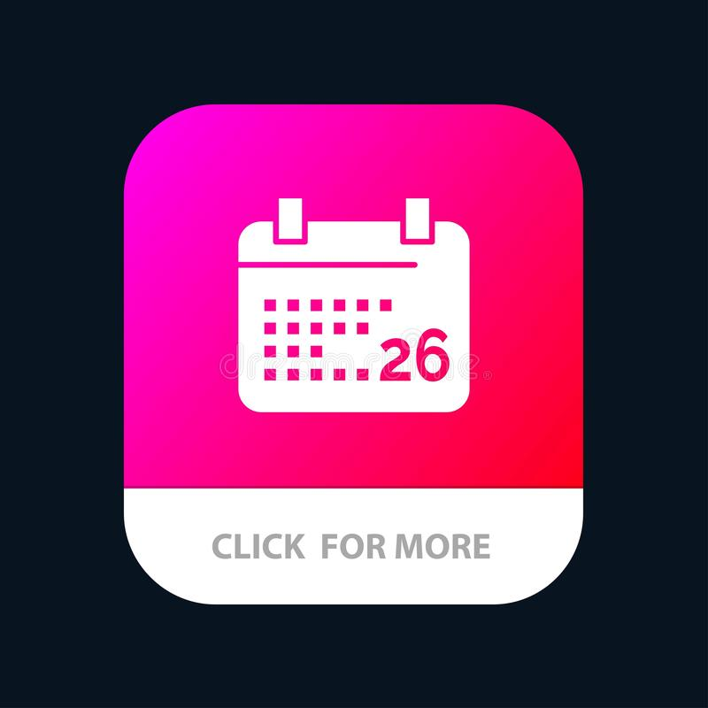 Indiano, giorno, giorno indiano della Repubblica, 26 Jan Mobile App Button Android e versione di glifo dell'IOS illustrazione di stock