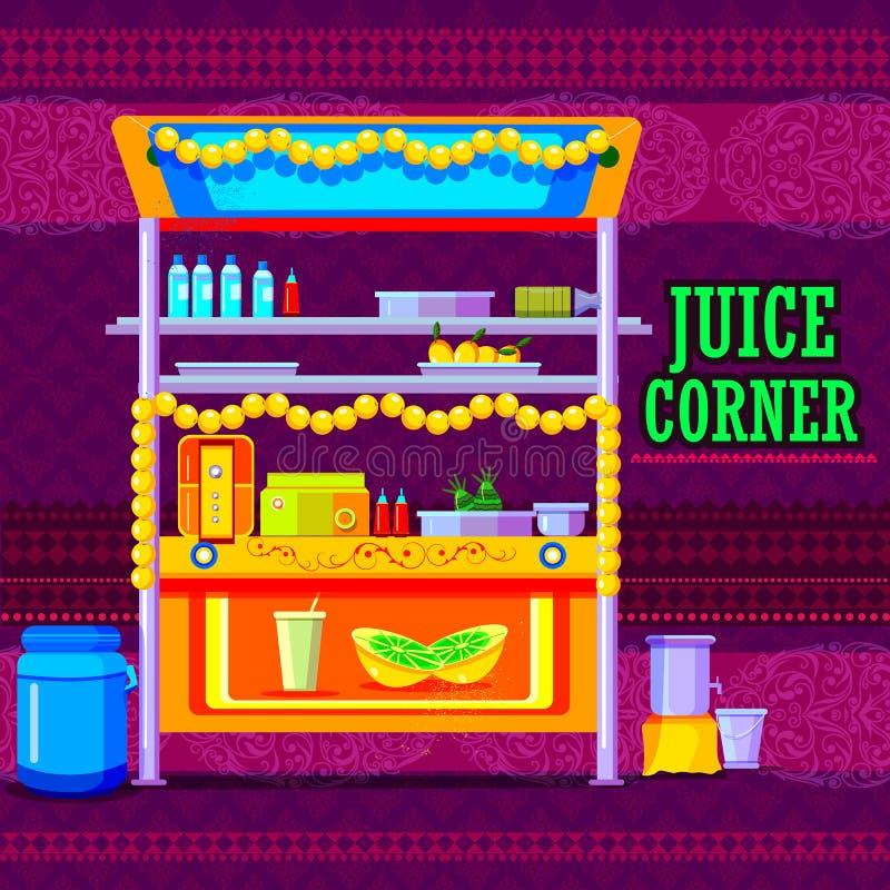 Indiano Juice Cart que representa a Índia colorida ilustração do vetor