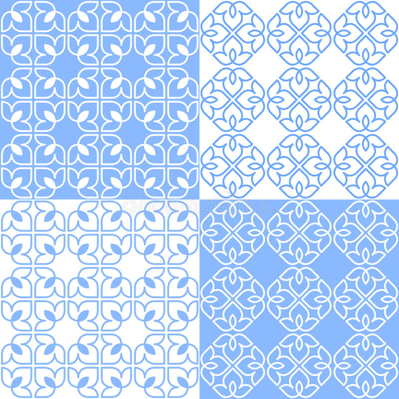 Indiano lineare Lotus Pattern illustrazione vettoriale