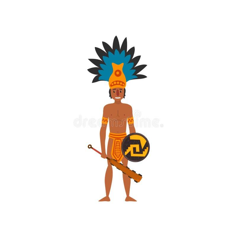Indiano maya, carattere di civilizzazione di maya, illustrazione tribale americana di vettore dell'elemento della cultura su un f royalty illustrazione gratis