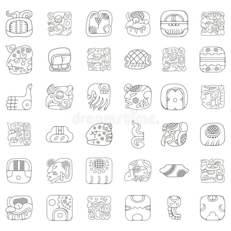 Indianos americanos Maya e ornamento astecas ilustração royalty free
