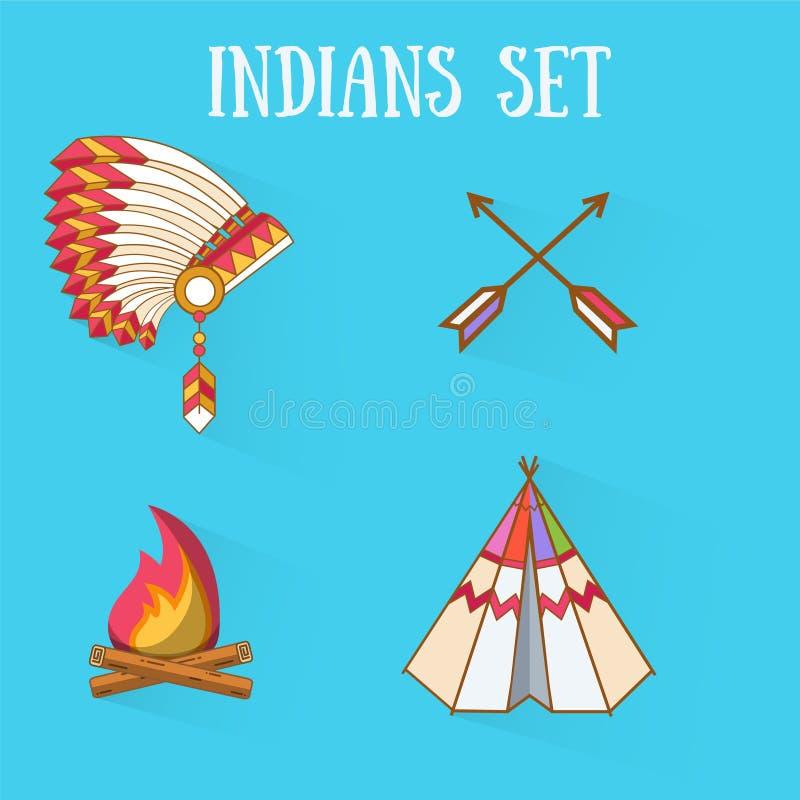 Indianos lisos do projeto ajustados ilustração do vetor