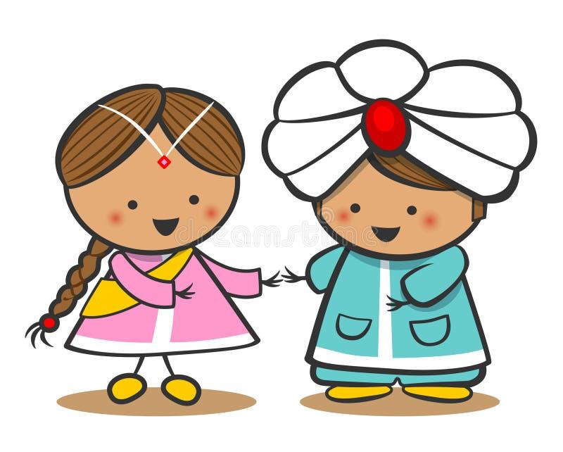 Indianos no vestido nacional Um menino e uma menina no traje tradicional Personagens de banda desenhada da garatuja ilustração royalty free